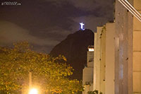 Cristo the Redemer at night from downtown Rio