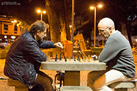 A game of nightly chess in a local park in Rio