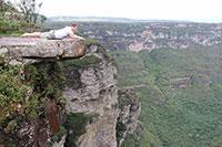 Looking 360 meters down at Fumaca waterfall in Diamantina national park