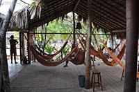 The hammock area at Tirol hostel in Jericoacoara